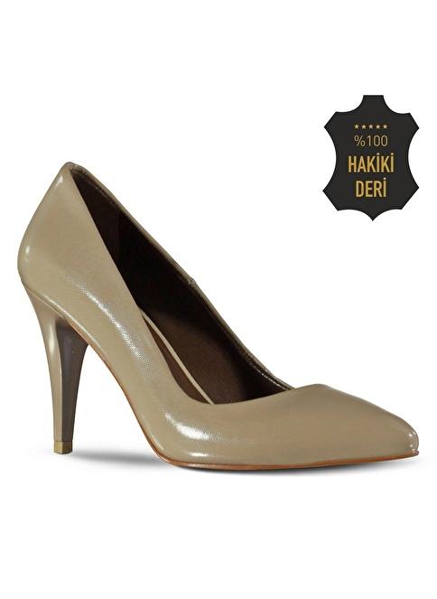 Marjin %100 Deri İnce Topuklu Ayakkabı Vizon
